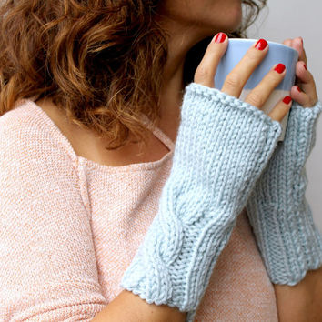 Winter Accessories - Baby Blue Thick Cable Warm Womens Fingerless Mittens Gloves Handwarmer
