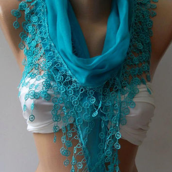 Fantastic/Blue - Cotton Shawl / Elegance Shawl / Scarf with Lace Edge