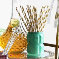 Gold Stripe Paper Straw Set - Gold One