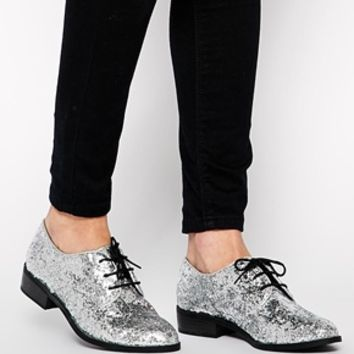 New Look Jazzle Silver Glitter Lace Up Brogue Shoes