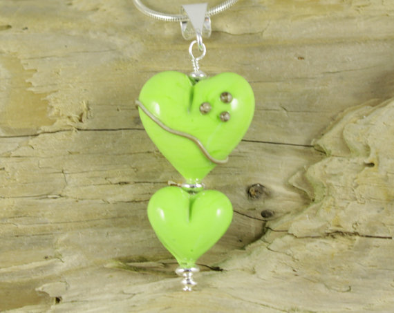 Lime Green multi Heart Lampwork Glass Pendant made with Sterling Silver findings