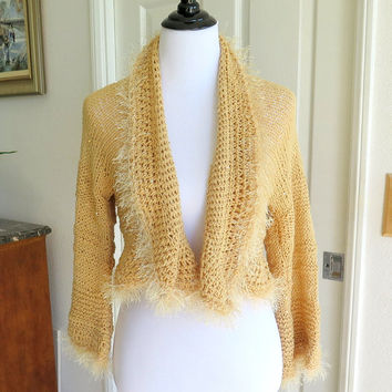Sparkly beige sweater shrug, hand knit sequined jacket trimmed in fur, outerwear