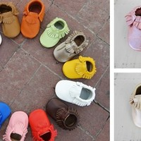 Genuine Leather Baby Moccasins 35 Colors Custom Sizes 0-2 Years