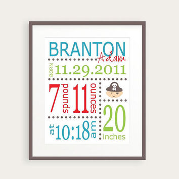 Pirate Nursery Decor, Personalized Birth Announcement or Baby Gift by happyprintsshop