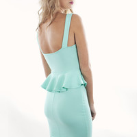Mint Cross Peplum Dress | Peplum Dresses | MessesOfDresses.com
