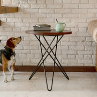 Industrial Hairpin Side Table handmade from Tzalam Wood and Black Steel
