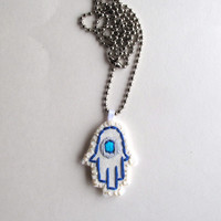 Hamsa embroidered necklace good luck evil eye Hand of Fatima Hand of Mary Hand of Miriam