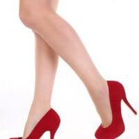Red Faux Suede Almond Shaped Closed Toe Pump Heels