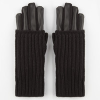 2 In 1 Faux Leather Gloves Black One Size For Women 24514910001