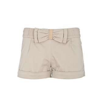 Beige Turn Up Hem Bow Shorts