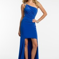 One Shoulder High-Low Dress with Beaded Buckle