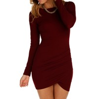 Burgundy Chic Deep Back Dress