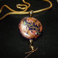 Cloisonne Double Sided Koi Fish on Soft Wire Mesh Gold Tone Necklace
