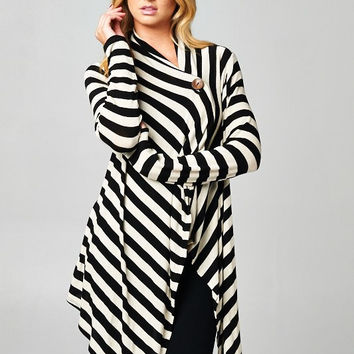 Black and Ivory One Button Striped Cardigan