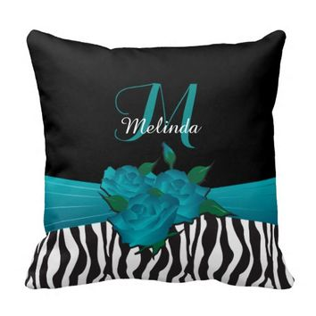 Turquoise Rose Zebra Animal Stripes