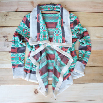 cozy bonfire knit cardigan sweater | aqua mod lightweight tribal aztec print southern southwestern hippie indie women's clothing fall winter