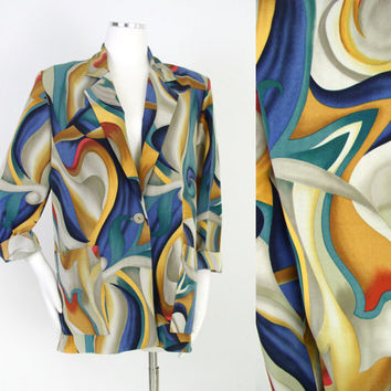 Vintage 1980s Oversize Abstract Print Women's Blazer - Colorful Swirly Menswear Inspired Long Statement Jacket - Size Small