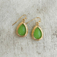 Golden Teardrop Earrings in Green [4384] - $11.00 : Vintage Inspired Clothing & Affordable Dresses, deloom | Modern. Vintage. Crafted.