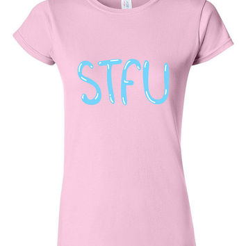 STFU Bubble Letter Funny T-shirt Tshirt Tee Shirt Gift Cool christmas gift Hipster Pretty Illustration Tumblr Silly Girl Internet xo Cute 3D