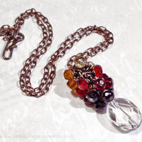 Red Ombre Crystal Cluster Necklace with Rock Crystal &amp; Czech Glass - Orange Yellow Black Simple Necklace Antique Brass Vintage Look Jewelry