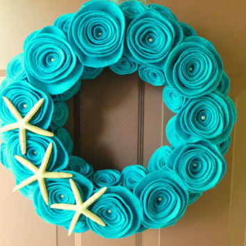 Turquoise Wreath, Summer Beach Wreath Made with Felt, Pearls and Starfish