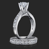 Engagement Rings -  1.00 ctw. 14K Gold Diamond Engagement Ring Set