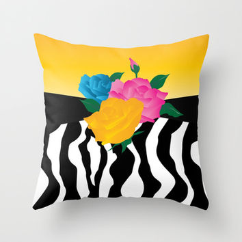 Multicolor Roses with Zebra Stripes Throw Pillow by Donna Siegrist