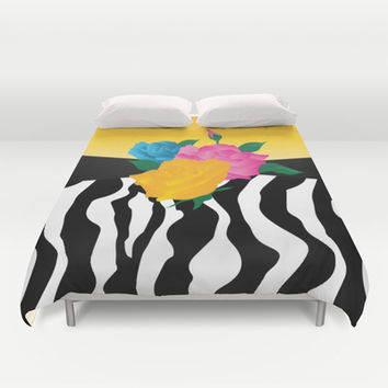 Multicolor Roses with Zebra Stripes Duvet Cover by Donna Siegrist