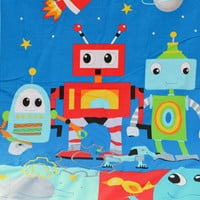 Red space robot ultra cuddle fleece baby blanket, Quilted toddler blanket, travel blanket, baby quilt