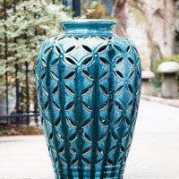 Turquoise Perforated Planter - Horchow
