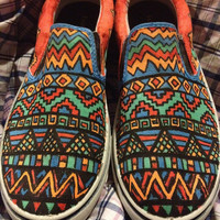 Custom Canvas Tribal Print shoes Vans, Toms, Canvas