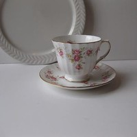 Vintage Pink Floral Duchess June Bouquet Bone China Teacup and Saucer