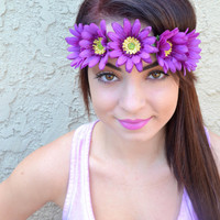 Flower Headband - Daisy Headband - Purple Daisies - Hairband - Festivals - Raves - Fashion Trends