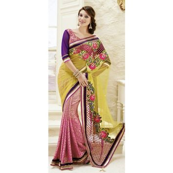Adorable Yellow And Shaded Pink Net Saree - Sarees - Womens Clothing - TheEthnicWear