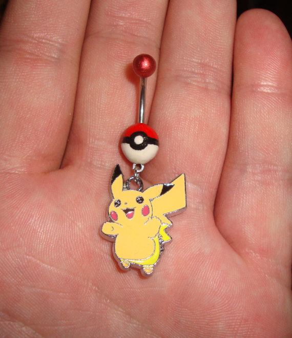 Pokeball Pikachu belly ring