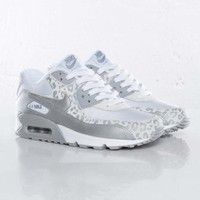 Nike Air Max 90 Leopard Print White/Silver Trainers Womens Sale UK Cheap