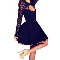 Women's Lace Open Back Long Sleeve Backless Evening Party Mini Skater Dress