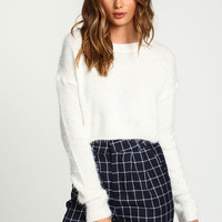 Ivory Cropped Furry Sweater