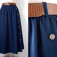 The Villager Preppy Skirt - Vintage Skirt - Belted Dark Navy Blue Midi Skirt With Gold Metal Buttons