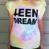 "Tie-Dye ""TEEN DREAM"" Sleeveless Shirt"
