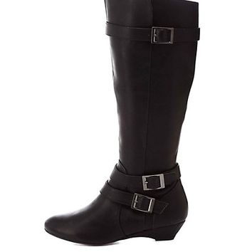 Belted Knee-High Sliver Wedge Boots by Charlotte Russe - Black