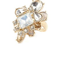 Layered Rhinestone Cocktail Ring by Charlotte Russe - Gold