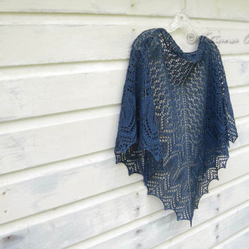 Blue lace shawl hand knit scarf gift for women triangular wrap