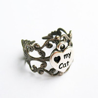 Cat/Heart Ring  - Gunmetal Vintage-Style Filigree Ring with Antiqued Silver &quot;Heart My Cat&quot; Charm, Adjustable