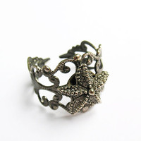 Starfish Ring  - Gunmetal Vintage-Style Filigree Ring with Antiqued Silver Starfish Charm, Adjustable