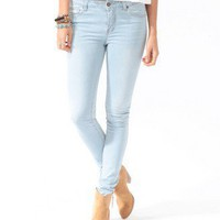 Sandblasted Five Pocket Skinny Jeans