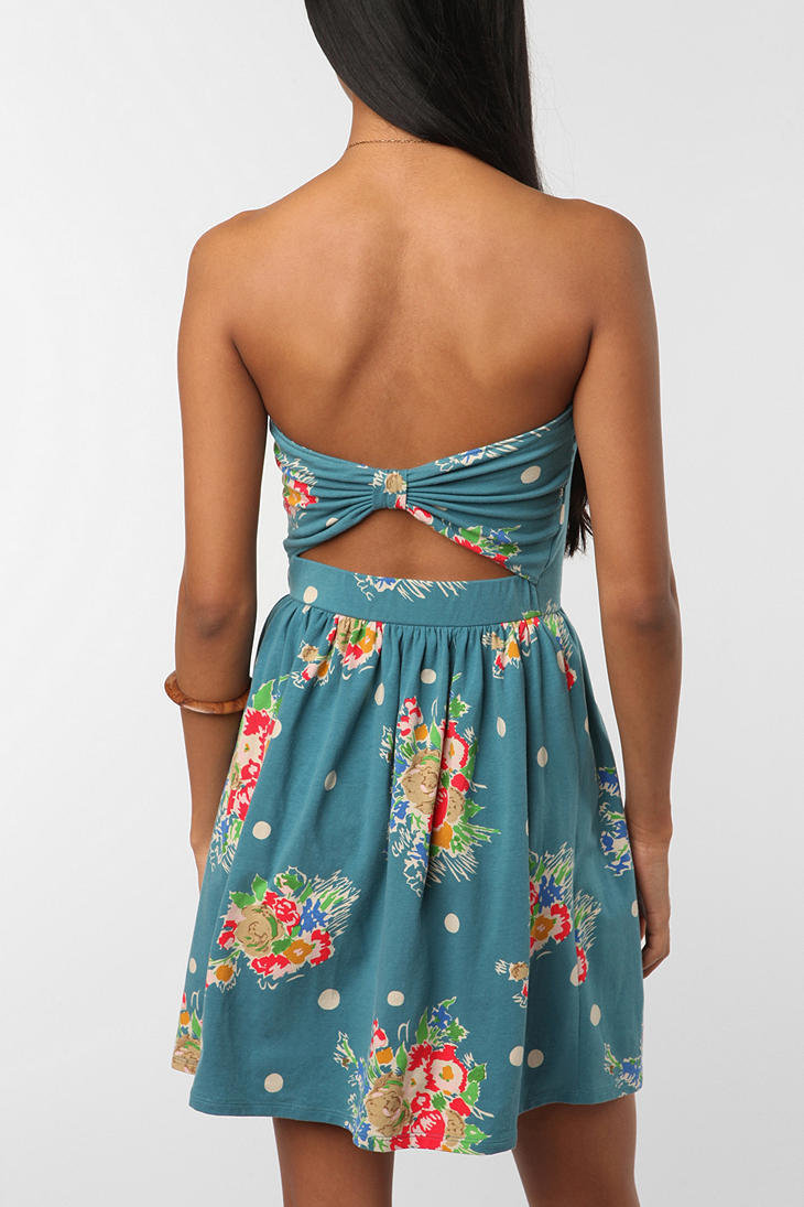Kimchi Blue Printed Bow-Back Strapless Dress