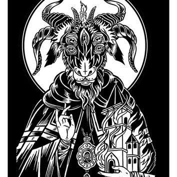 """Saint Goat"" Print by Mindzai Creative (Black)"