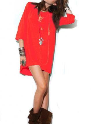 Red Dress with 3/4 Length Sleeves and Curved Hemline