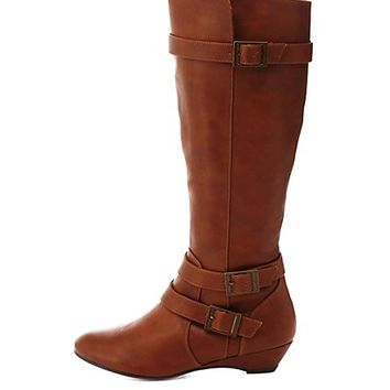 Belted Knee-High Sliver Wedge Boots by Charlotte Russe - Cognac